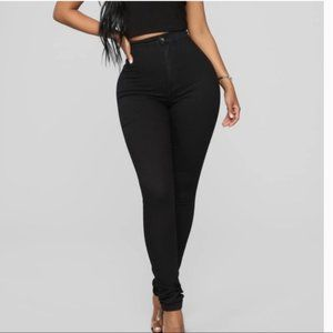 Fashion Nova High Waisted Stretchy Jeans Solid Black Size 25 Non Distressed